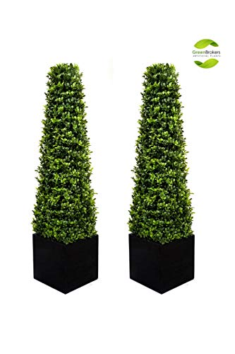 GreenBrokers 2 x Premium Quality Artificial Boxwood Pyramid Trees in Square Planter (3ft/90cm), Black, 90cm