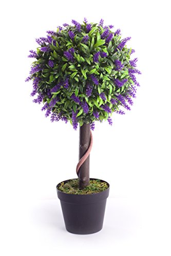 Best Artificial 2ft 60cm Lavender Flower Ball Topiary Tree Plant Garden Conservatory Indoor Outdoor (Purple)