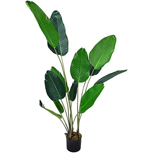 INMOZATA Artificial Banana Tree Tropical Plant Decorative Plants in Pot for Indoor Outdoor Garden 180cm