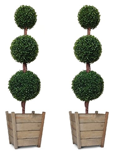Triple Ball Artificial Boxwood Topiary Trees 4ft/120cm - Best Quality (Pack of 2)
