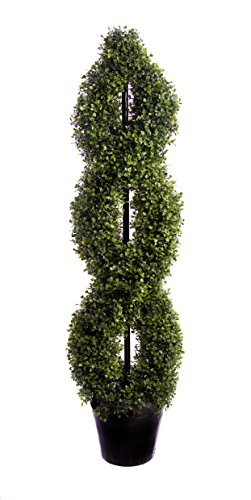 Best Artificial 120cm 4ft Boxwood Double Twist Spiral Topiary Tree **UV Fade Protected**