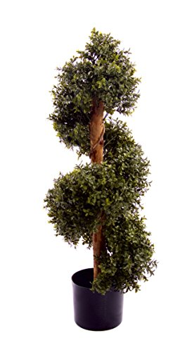 Best Artificial Natural Look 3ft 90cm Boxwood Topiary Spiral Tree UV Fade Protected
