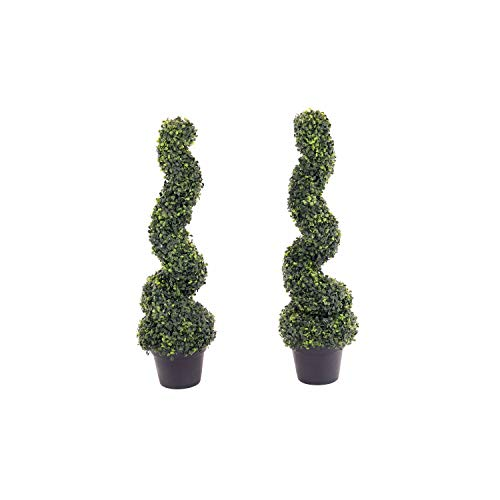 Oypla Set of 2 Artificial Topiary Boxwood Spiral Trees 80cm Indoor Outdoor Decoration