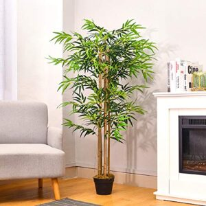 INMOZATA Artificial Tree Artificial Bamboo Tree Fake Decorative Plants 5ft/150cm High in Pot for Indoor Outdoor Garden