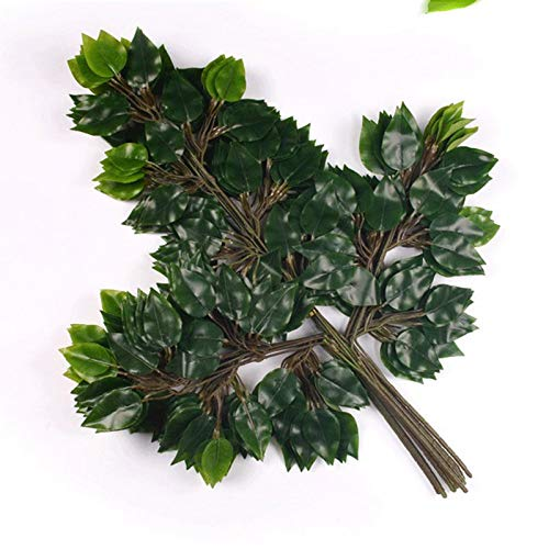 Bureze 12pcs PP lamination Artificial Banyan Tree Branches Leaves Simulation Green Plant Flowers Home Shopping Mall Decorative Flower