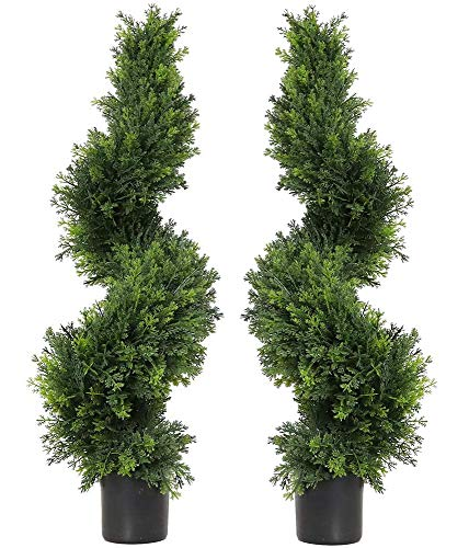 35 Inch/2.95ft Artificial Topiary Spiral Cypress Trees Ceder Trees Boxwood Topiary Artificial outdoor Faux Topiary Spiral Cypress Trees Artificial Topiary Trees,Faux topiary Boxwood trees,Set of 2