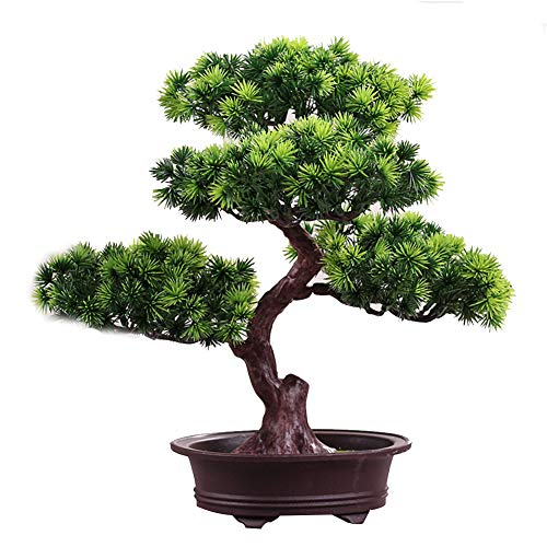 KOET Artificial Bonsai Pine Tree,11Inch Faux Potted Plant Desk Display Fake Tree Pot Ornaments, Japanese Cedar Bonsai Plant for Home, Office Decoration