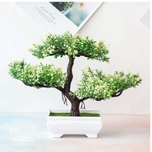 Verve Jelly Artificial Bonsai Tree,Simulation Pine Tree Potted Plant, Desk Display Potted Plant,Fake Tree Pot Ornaments Green Plant,for Office Home DIY Decorative