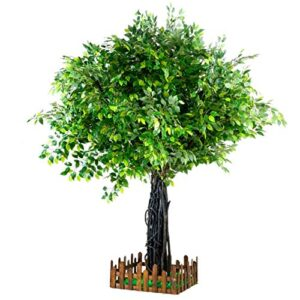 Artificial plants Artificial Banyan Tree With Base Decorations Artificial Silk Tree Fake Large Green Tree for Outdoor Indoor Home Office (Color : Round 100 * 50cm 39 * 19'')