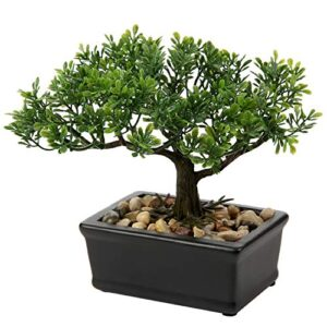 "6.49"" Artificial Bonsai Tree Fake Plant Japanese Bonsai Decoration Potted Faux Pine Plants Bonsai Cedar Tree for Indoor/Outdoor Home Office Hotel Décor"