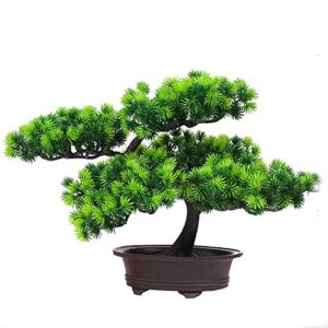 SparY Artificial Bonsai Tree, Simulation Pine Tree Potted Plant, Desk Display Potted Plant, Fake Tree Pot Ornaments Green Plant, for Office Home DIY Decorative