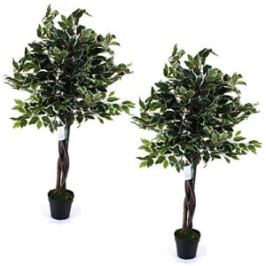 Marko Gardening 120cm Artificial Tree Realistic Potted Indoor Outdoor Home Bamboo Olive Banyan (Pair of Trees - Artificial Banyan Tree)
