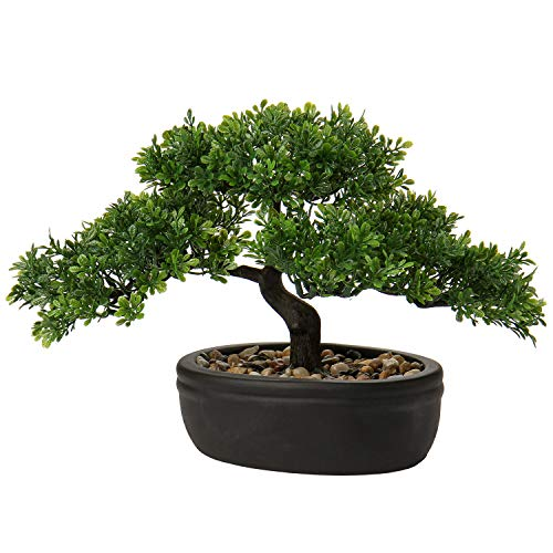 """9"""" Artificial Bonsai Tree Fake Plant Japanese Bonsai Decoration Potted Faux Pine Plants Bonsai Cedar Tree for Indoor/Outdoor Home Office Hotel Décor"""