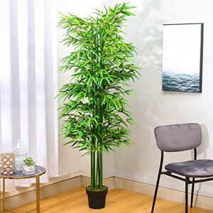 INMOZATA Artificial Bamboo Tree Artificial Tree Fake Decorative Plants 6ft/180cm High in Pot for Indoor Outdoor Garden