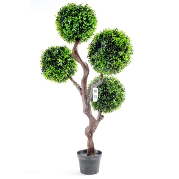 Geko 1-Piece Large 90 cm Single Artificial UV Boxwood Topiary Tree