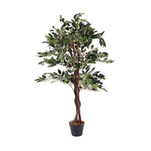 Oypla Artificial Ficus Tree Plant 120cm Indoor Outdoor Garden Decoration