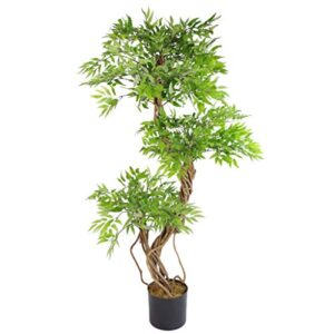 Leaf 140cm Realistic Artificial Japanese Fruticosa Ficus Tree, Green &amp Black
