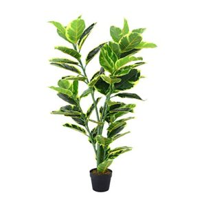 INMOZATA Artificial Ficus Tree Fiddle Fig Plant Decorative Plants in Pot for Indoor Outdoor Garden 120CM