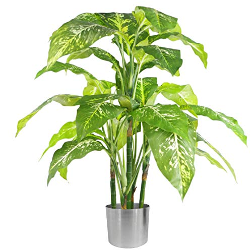 Leaf 100cm Large Fox's Aglaonema (Spotted Evergreen) Tree Artificial Plant, Green & Silver