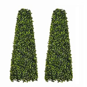 60cm Artificial Topiary Boxwood Obelisks (Pair)
