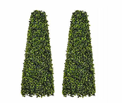 60cm Artificial Topiary Boxwood Obelisks (Pair)