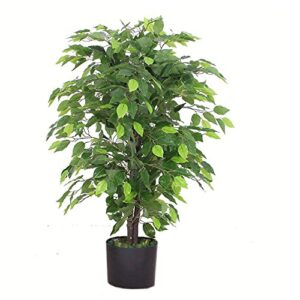 Leaf Design UK 90cm Artificial Ficus Tree/Plant-Large Bushy Shape Black Plastic Pot, Green Bushy Ficus