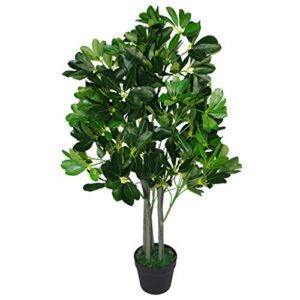Leaf Design UK 95cm Umbrella Tree Dark Green-Extra Large Artificial Evergreen Ficus Plant Black Plastic Pot