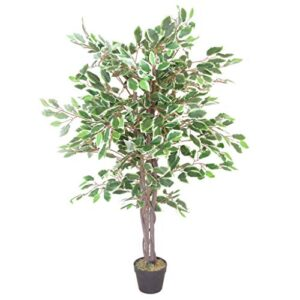 Leaf Artificial Ficus Tree, White Edge Twist, 130cm