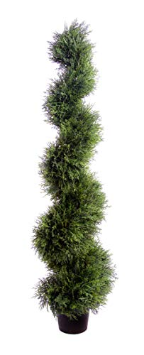 Best Artificial 120cm 4ft Cedar Conifer Spiral Topiary Tree **UV Fade Protected**