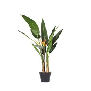 Artificial Potted Plant for Indoor Use Modern Plastic Decoration with Black Pot Strelitzia Tree