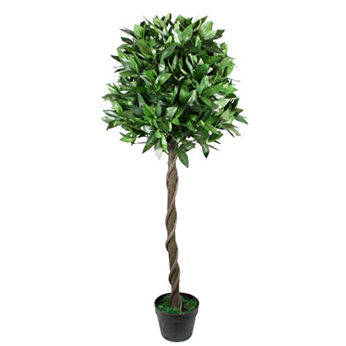 FloralStem 4 ft Artificial Topiary Bay Tree Potted for Outdoor and Indoor Use