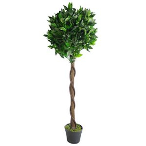 Leaf LEAF-7089 Artificial Stem Topiary Bay Tree Laurel Ball Style in Black Plastic Pot, Green Twist, 120cm (4ft)
