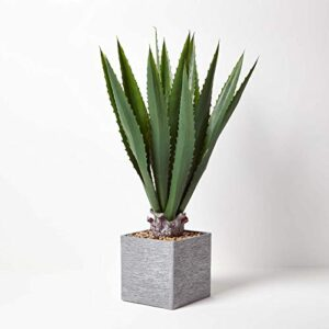 Homescapes Large Artificial Agave Tree 100 cm Tall Faux Succulent Cactus Tree Realistic Green Leaves Potted in White Ceramic Square Planter with Faux Stones for Home, Office or Party Decoration