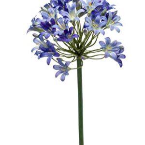 artplants.de Set 6 x Artificial flower Agapanthus GERARD, blue, 3ft/90cm - 6 pcs Fake agapanthus