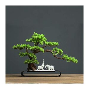 Yyqx Artificial Plants Artificial Bonsai Pine Tree Desk Display Fake Tree and Lucky Elephant Decorative Sculpture Realistic Faux Potted Plant for Home, Office Decoration Artificial House Plants