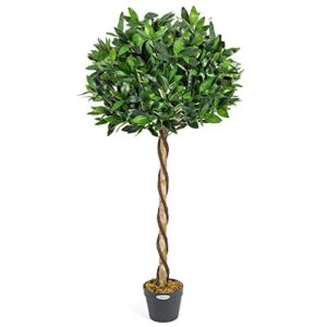 CHRISTOW Artificial Bay Tree In Pot, Large 3ft 4ft Tall Indoor Outdoor Garden Topiary Ball, Twisted Wooden Trunk, Realistic Lush Green Leaves, Home Office Restaurant, (4ft, 1 pack)