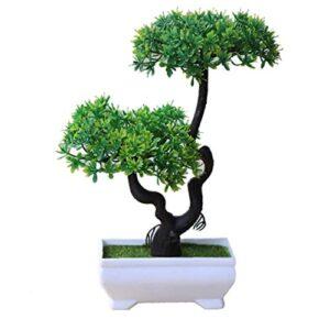 1pc Green Artificial Plant Tree Bonsai Plastic Potted Ornament Home Hotel Garden Decor (Random Style)