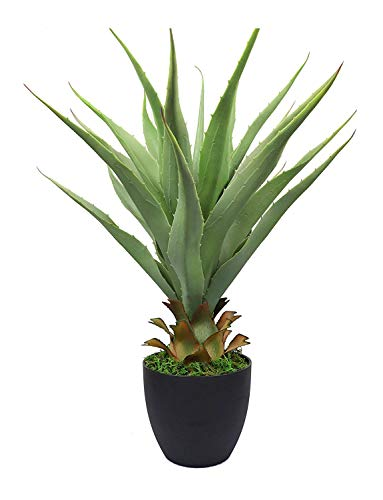 """momoplant 27"""" Artificial Agave Sansevieria Plants with 22 leaves, Green Color with Pot for Indoor Outdoor Decor"""