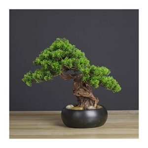 xilinshop Faux Plants Artificial Bonsai Welcoming Pine Tree Simulation Potted Plant Decorative Bonsai, Desk Display Fake Tree in Ceramic Pot for Home, Office, Shop Decorative Gifts Artificial Plants