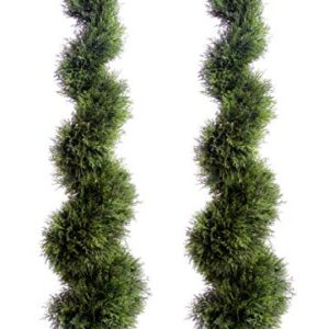 Best Artificial Pair of 120cm 4ft Cedar Conifer Spiral Topiary Trees **UV Fade Protected**
