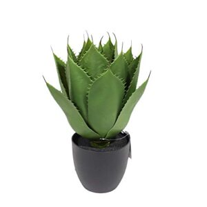 momoplant Artificial Plant Succulent Spiked Agave, 46cm Table Plant for Indoor Home Office Decor with 17 Green Leaves