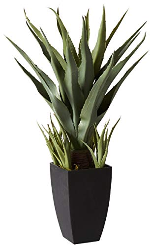Nearly Natural Agave with Black Planter Artificial Plant, Green