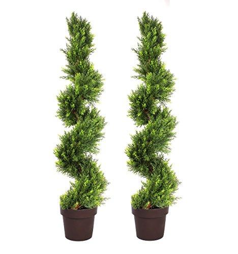 GreenBrokers Artificial Spiral Cedar Conifer Trees 4ft/120cm-Best Quality (Set of 2), Green, 30x30x120 cm