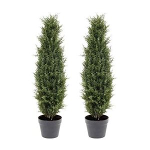 momoplant 3ft Artificial Topiary Cedar Trees For Outdoors Artificial Cypress Spiral Trees Faux Cypress Spiral Silk Trees Boxwood Topiary Plants Indoor Outdoor Decor(35inch) 2PACK
