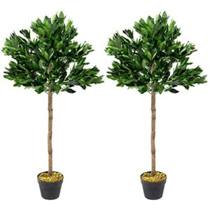 Woodside Artificial Topiary Bay Leaf Tree's, 4ft/125cm Indoor/Outdoor Replica Potted Plant Decoration (pack of 2)