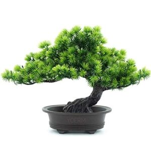 yoerm Mini Artificial Bonsai Tree Indoor, Artificial Plants Greenery for Office Home Decor (Pine Bonsai)