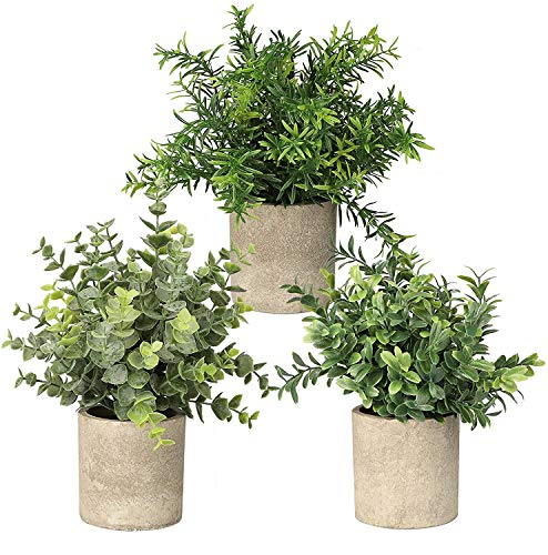 Topcloud 3 Pack Mini Potted Artificial Plants