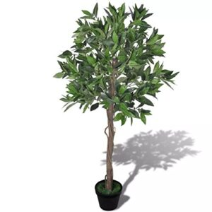 mewmewcat Artificial Bay Tree with Pot for Entryway Living Room or Office Decor Realistic Look 120 cm