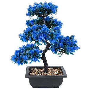 JTSYUXN Bonsai Pine Tree Fake Potted Artificial Plant Decoration DIY Decorative Bonsai Not Faded No Watering for Office Restaurant Table Centerpieces Windowsill Decor (Color : Blue)