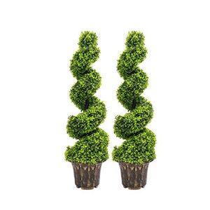 Warmiehomy Pair of Artificial Plants Cedar Spiral Topiary Tree Artificial Tree 90cm Artificial Plant for Ourdoor Indoor Conservatory Decoration